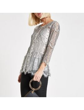 White Lace Peplum Hem Top by River Island