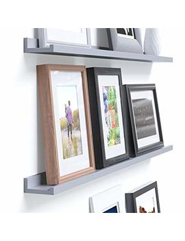 Wallniture Denver Modern Design Floating Picture Display Ledge Wall Mounted Shelf 46 Inches Gray by Wallniture