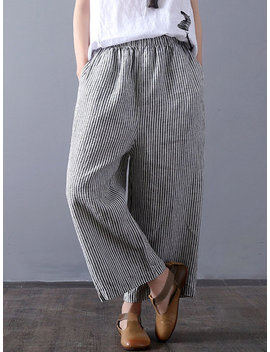 Vintage Stripe Wide Leg Loose Elastic Waist Pants by Newchic