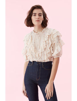 Glitter Gem Chiffon Ruffle Top by Rebecca Taylor
