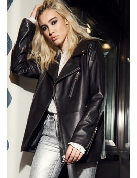 Eden Maxi Moto Leather Jacket In Black by J Brand