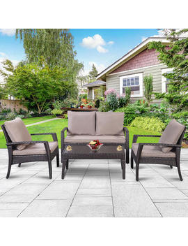Goplus 4 Pc Patio Rattan Furniture Set Tea Table &Chairs Outdoor Garden Steel Frame New Goplus 4 Pc Patio Rattan Furniture Set Tea Table &Chairs Outdoor Garden Steel Frame New by Goplus
