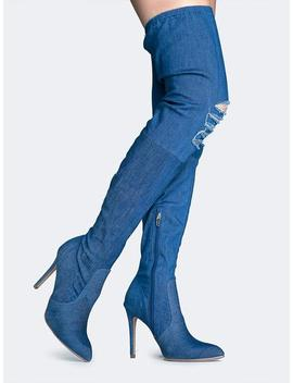 Thigh High Jean Boots by Zooshoo