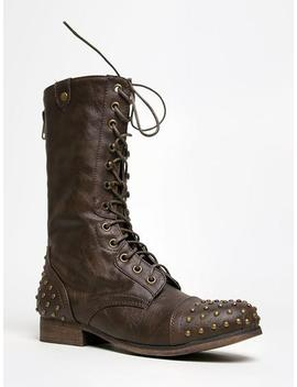 Studded Combat Boots by Zooshoo