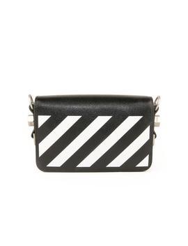 Textured Leather Flap Crossbody Bag With Binder Clip   Black &Amp; White by Off White