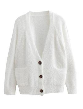 'kristen' Furry Button Down Cardigan by Goodnight Macaroon