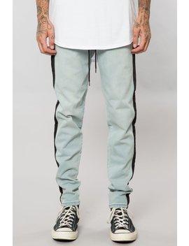 Light Indigo Knit Denim Track Pant by Elwood Clothing