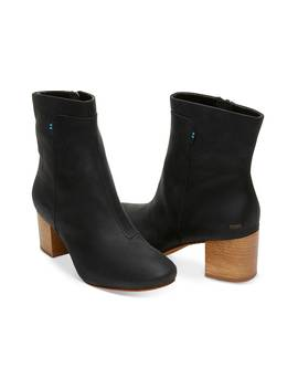 Black Leather Women's Evie Booties by Toms