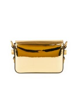Metallic Leather Flap Crossbody Bag With Binder Clip   Gold by Off White