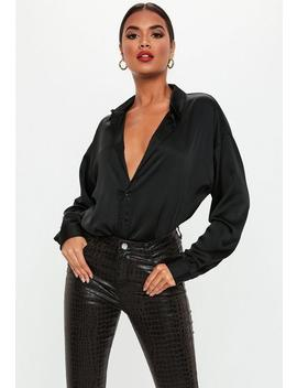 black-extreme-oversized-satin-shirt by missguided