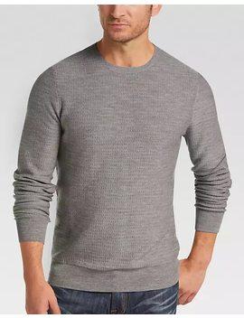Joseph Abboud Light Gray Dot Crew Neck Sweater by Mens Wearhouse