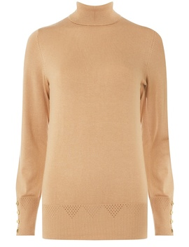 Camel Roll Neck Jumper by Dorothy Perkins