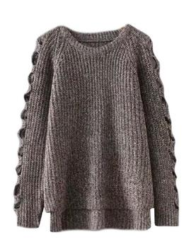 'leisa' Cut Out Sleeves Knitted Sweater (3 Colors) by Goodnight Macaroon
