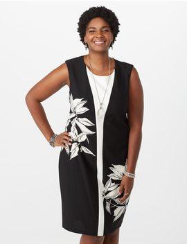 Plus Size Colorblock Floral Sheath Dress by Dressbarn