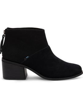 Black Suede And Felt Women's Lacy Booties by Toms