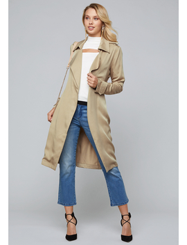 Tie Waist Trench Coat by Bebe