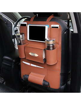 Multifunctional Pocket Car Backseat Phone Holder Pu Leather Seat Organizer Storage For Phone Tablet by Newchic