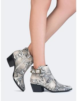 Snake Buckle Ankle Booties by Zooshoo