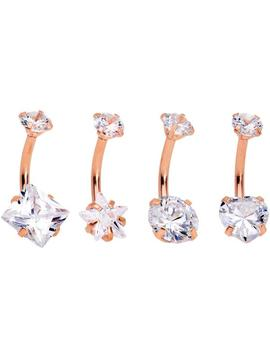 Clear Gem Rose Gold Hue Round Rhombus Heart Star Belly Ring Set Of 4 by Body Candy