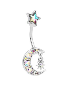 Aurora Gem Moon And Star Double Mount Belly Ring by Body Candy