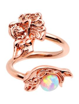 White Synthetic Opal Rose Gold Pvd Mermaid Spiral Twister Belly Ring by Body Candy