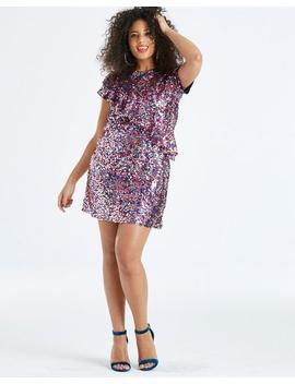 Sequin Ruffle T Shirt Dress by Simply Be