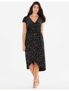 Quiz Curve Velour Geo Print Dress by Simply Be