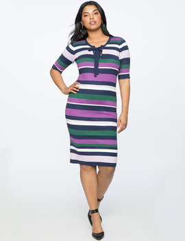 Striped Ribbed Dress by Eloquii