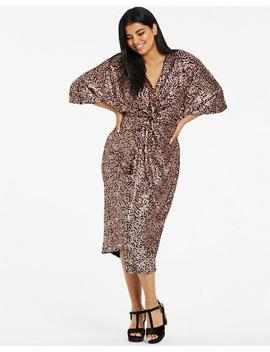 Rose Gold Stretch Sequin Kimono Dress by Simply Be