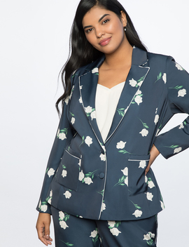 Two Button Printed Jacket by Eloquii
