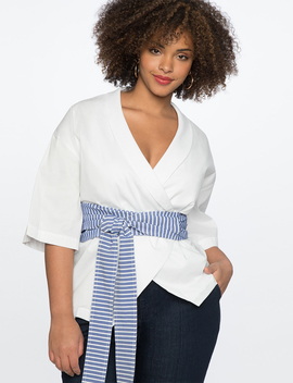 Wrap Top With Striped Belt by Eloquii