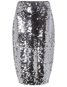 Silver Ombre Sequin Pencil Skirt by Dorothy Perkins