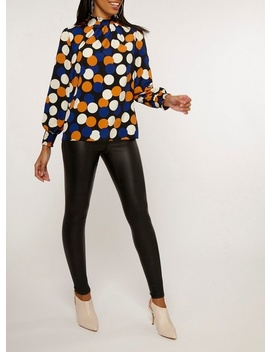 Black Spot Print Long Sleeve Sheered Top by Dorothy Perkins