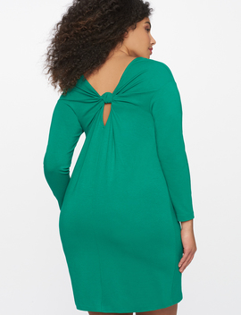Easy Long Sleeve Dress With Knotted Back Detail by Eloquii