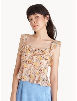 Floral Ruffle Trim Tank   Cream by Pomelo