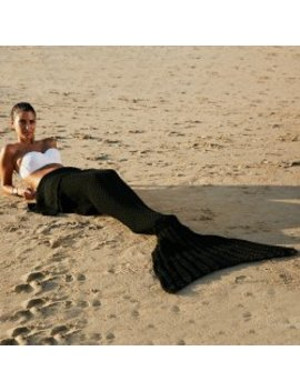 Fashionable Comfortable Warmth Wool Knitting Mermaid Shape Blanket   Black by Twinkle Deals