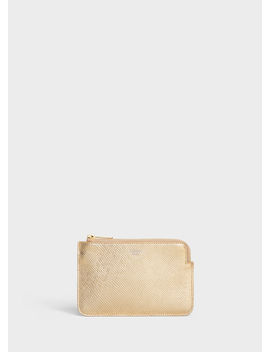 Coin And Card Pouch With Hook In Laminated Grained Calfskin by Celine