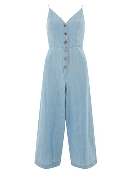 Light Blue Button Down Jumpsuit by Dorothy Perkins