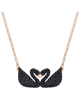 Swarovski Rose Gold Plated Double Swan Crystal Necklace by Beaverbrooks