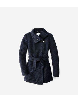 Funnel Collar Boucle Coat by Cole Haan