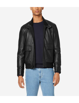 Leather Jacket With Knit Hem by Cole Haan