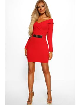 Out On The Town Red Bardot Belted Bodycon Mini Dress by Pink Boutique