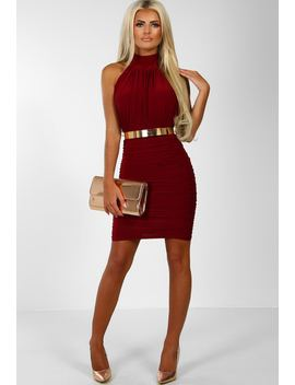 Dusk To Dawn Burgundy Ruched Halterneck Mini Dress by Pink Boutique