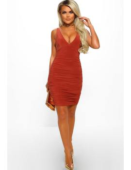 Becki Rust Slinky Ruched Mini Dress by Pink Boutique