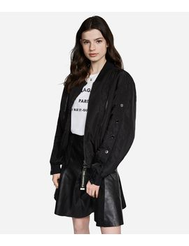 Satin Button Sleeve Bomber Jacket by Karl Legerfeld