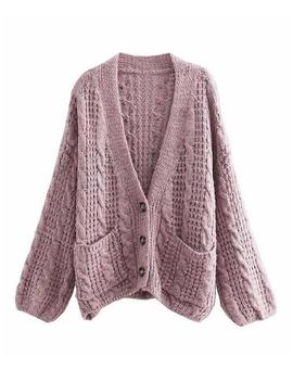 'lavender' Cable Knit Button Down Oversized Cardigan by Goodnight Macaroon