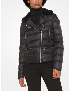 Satin And Faux Fur Puffer Jacket by Michael Michael Kors