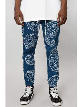 Navy Paisley Stretch Twill Jogger by Elwood Clothing