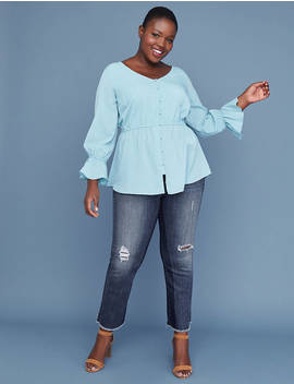 Button Front Peplum Top by Lane Bryant
