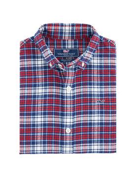 Boys Tower Ridge Flannel Whale Shirt by Vineyard Vines